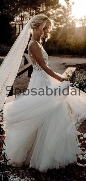 Elegant A-Line V Neck Tulle Long Beach Wedding Dresses With Appliques WD0541