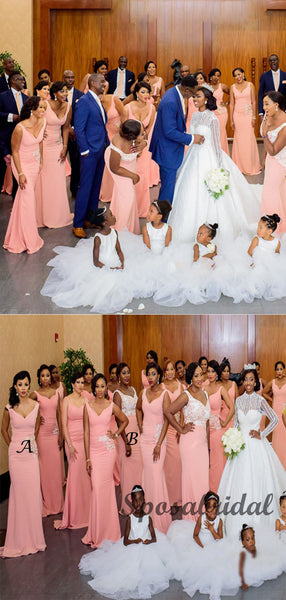 Elegant Mismatched Pink Long Mermaid Bridesmiad Dresses WG908