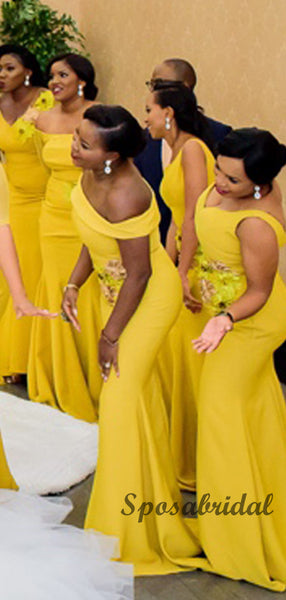 Elegant Yellow Off the Shoulder Mermaid Bridesmiad Dresses WG909