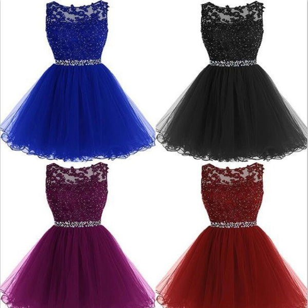A-Line Sleeveless Beads Tulle Short Colorful Free Custom Junior Homecoming Dresses, BD0231 - SposaBridal