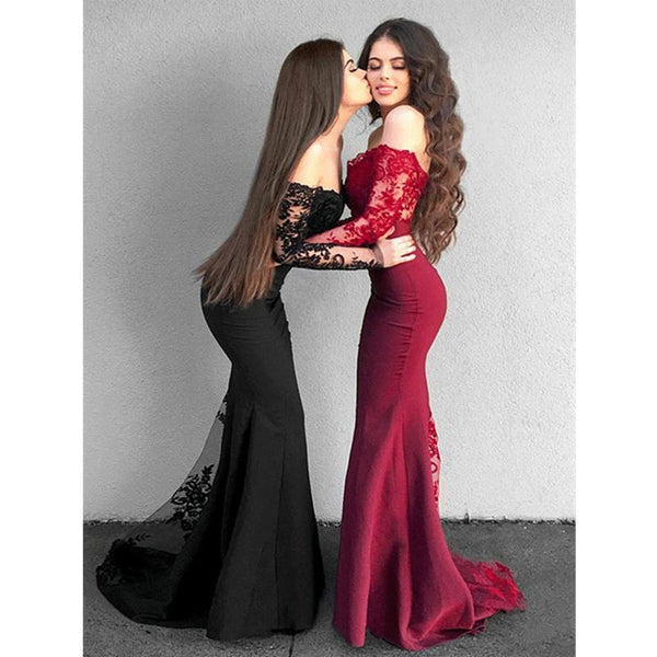 Elegant Black Burgundy Mermaid Long Sleeves Lace Lace  Bridesmaid Dresses for Wedding Party,WG84