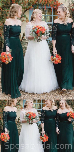 Elegant Custom Charming Off Shoulder Green Long A-line Lace Bridesmaid Dresses , WG416