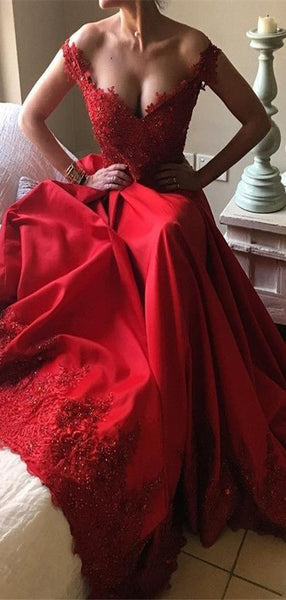 Elegant Fashion Charming Off-the-Shoulder Red Prom Dresses, Lace Evening Gowns, PD0965