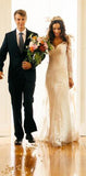 Elegant Lace Long Sleeve Wedding Dresss Latest V-Neck Open Back Bridal Dresses , PD0225