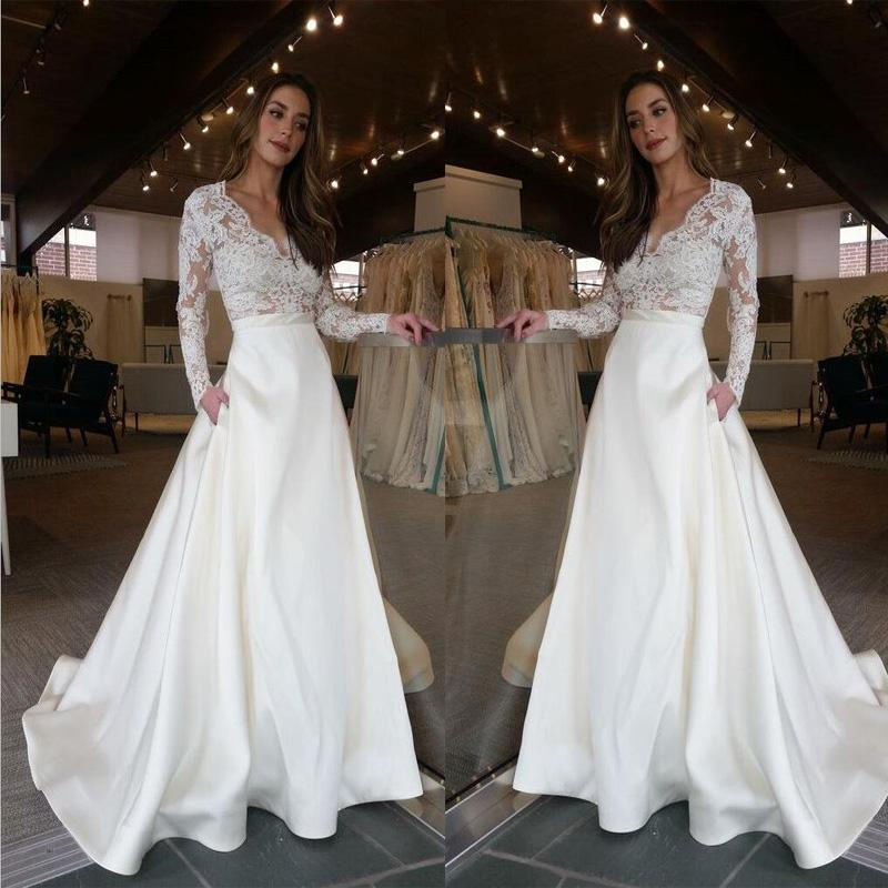 Elegant Long Sleeves V-Neck Top Lace Simple Long Wedding Dresses ...