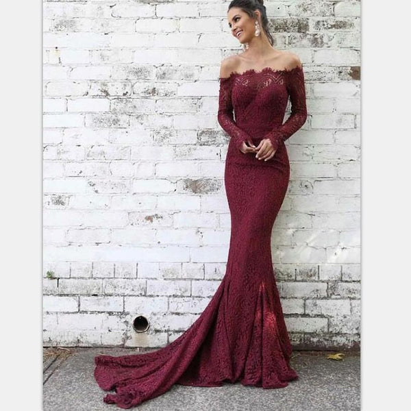 Elegant Mermaid Off-the-Shoulder Burgundy Lace Long Sleeves Prom Party Dresses, PD0867