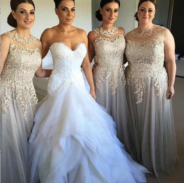 Elegant Modest Unique Design Round Neck Long Grey Tulle and Lace Bridesmaid Dresses for wedding guest , WG274