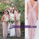 New Unique Design Cheap Elegant V Neck Long Blush Pink Chiffon Bridesmaid Dresses, Wedding Guest Dress online WG241