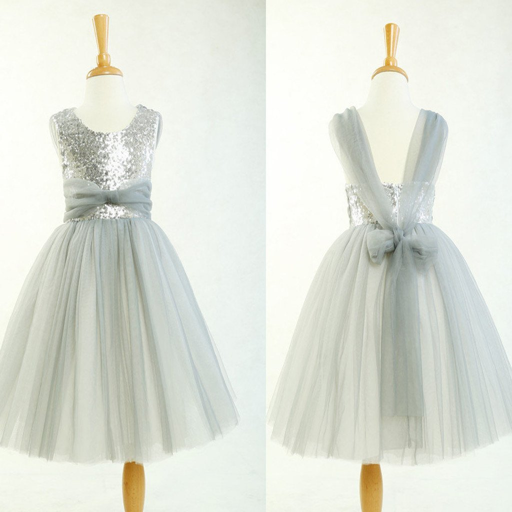 Round Neck Silver Sequin Tulle Pretty Little Girl Dresses For