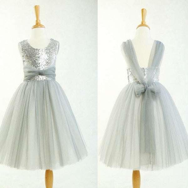 fad172a3 Round Neck Silver Sequin Tulle Pretty Little Girl Dresses For Wedding  Party, Flower Girl Dresses