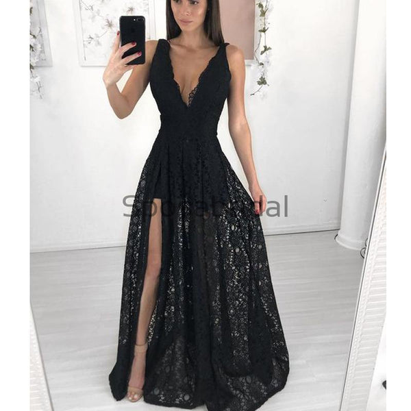 Fashion Black Lace V-Neck Unqiue A-line Prom Dresses PD2220
