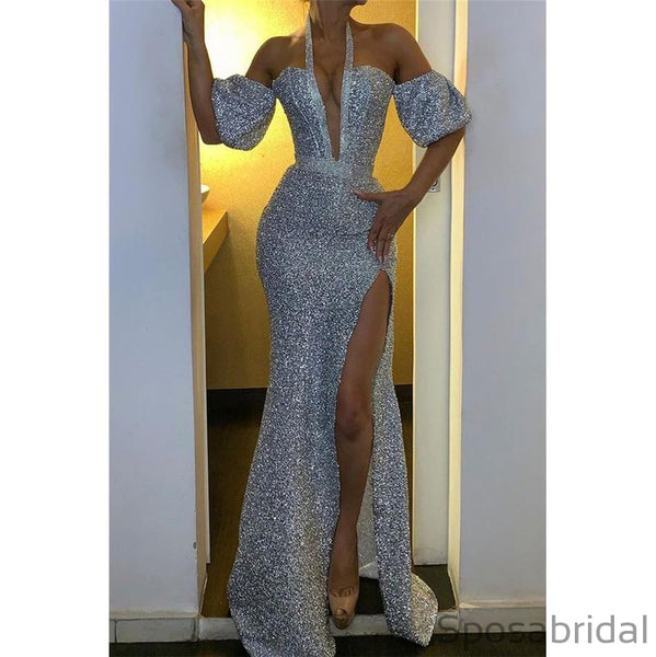 Fashion Mermaid Sequin Silver Long Prom Dresses PD2390