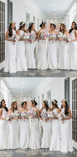 Floor-Length White Sleeveless Custom Chamring Custom Cheap Long Bridesmaid Dresses, WG544