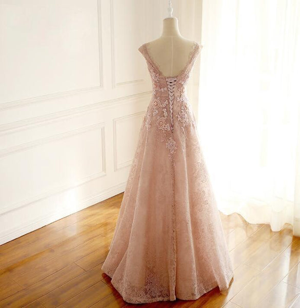 Floor-length V Neck Long Blush Pink Bridal Dresses, Pretty Elegant Most Popular Lace Wedding Dresses, WD0272