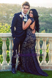 Full Lace Navy Blue Open Back Sexy Mermaid  Prom Dresses, Charming Elegant Prom Dress With Train, Party dresses, Evening dresses, PD0735