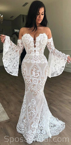Full Lace Unique Design Classtic Elegant Beautiful Mermaid Simple  Romantic Wedding Dresses, WD0353