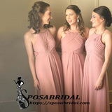 Glamorous Chiffon Halter Floor-length A-line Dusty Pink Cheap Modest Bridesmaid Dresses,WG335