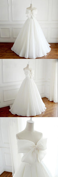 Glamorous Unique New Design White A-line Elegant Formal Weeding Dresses with Bow , WD0273