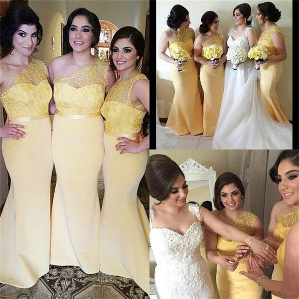 Long One Shoulder Gold Yellow Best Sale Mermaid Bridesmaid Dresses  ,PD0260