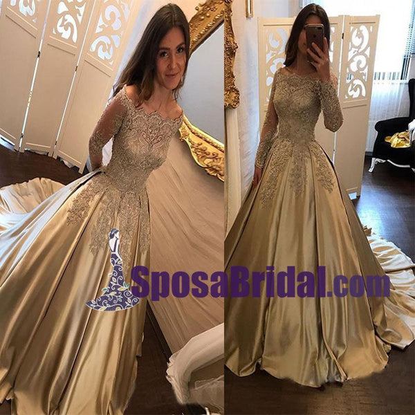 Gold Satin Lace Long Formal High Quality Prom Dresses with lace,  Long Sleeves Evening Dress,PD0755
