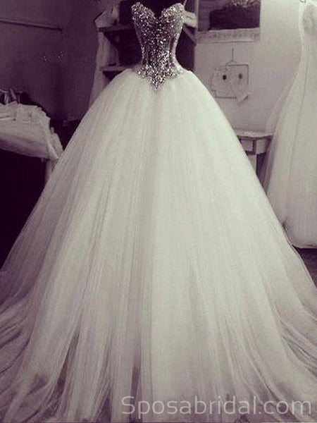 Gorgeous Crystal Beading Princess Romatic  Wedding Dresses,  Tulle Ball Gown, WD0354
