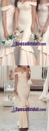 Charming Off Shoulder Elegant Mermaid Long Bridesmaid Dresses, High Quality Custom Bridesmaid dress, WG242