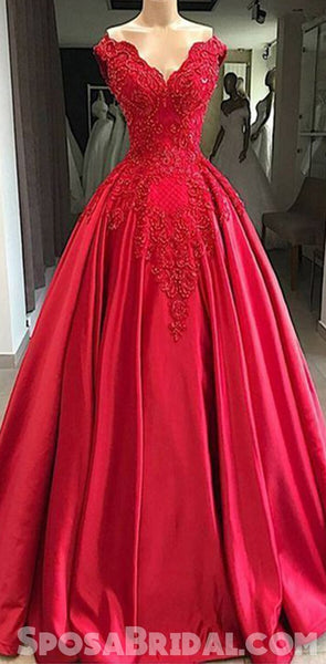 Gorgeous Red lace Satin Ball Gown,Modest High Quality Long Prom Dresses with beading,PD1290