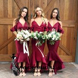 Gorgeous Spaghetti Straps V Neck  Mermaid High Low Special Cheap Bridesmaid Dresses, WG336