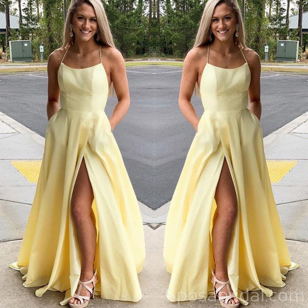 Gorgeous Spaghetti Straps Yellow Long Prom Dresses with Slit, Simple Modest Prom Dress, PD1356