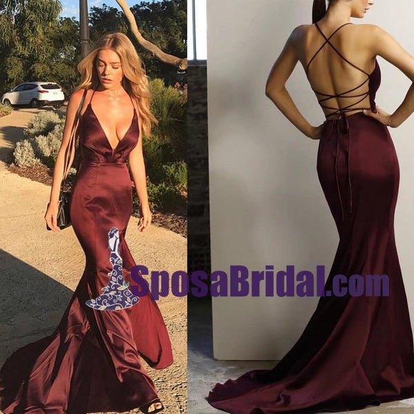 Spaghetti Straps Gorgeous Deep V Neck Mermaid Burgundy Long Prom Dresses with Cross Back, Sexy evening dress, PD0756