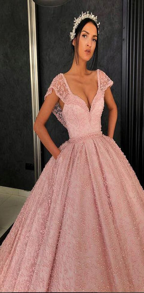 Gorgeous Stunning Pink A-line Cap Sleeves  Custm Elegant Prom Dresses, PD0974