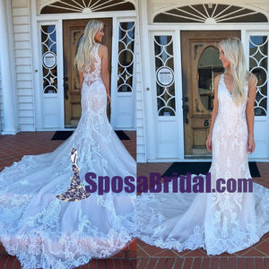Long V Neck Mermaid Sexy Elegant Wedding Dress, New Arrival High Quality Real Made Bridal Dress, WD0268