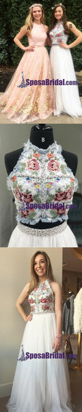 Gorgeous Two Piece White Pink Most Popular Long Prom Dresses, Best Sale dress for party, PD0759