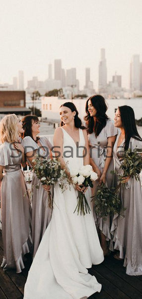 Gray Short Sleeves Unique Soft Beach Bridesmaid Dresses WG767