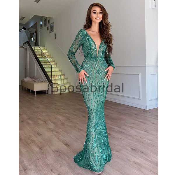 Green Long Sleeves Sequin Sparkly Mermaid Evening Prom Dresses PD2315