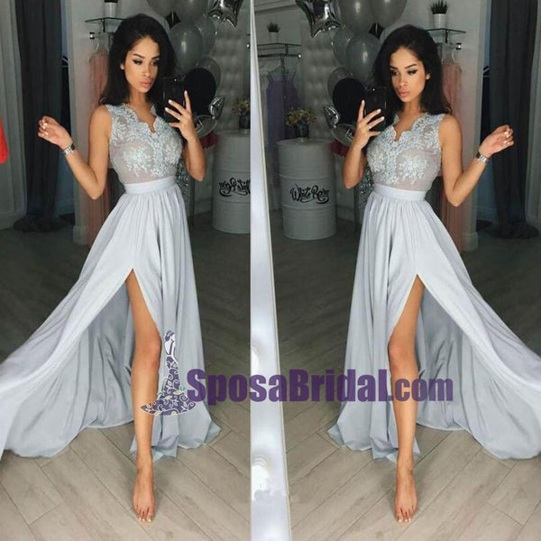 Grey Sleeveless Side Split Sexy Formal Prom Dresses, Formal Fashion Prom Dress, Party dress, School back dress, PD0736
