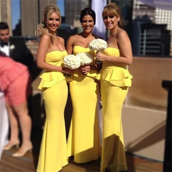 Long Yellow Mermaid Sweetheart Unique Elegant Formal Bridesmaid Dresses , PD0251