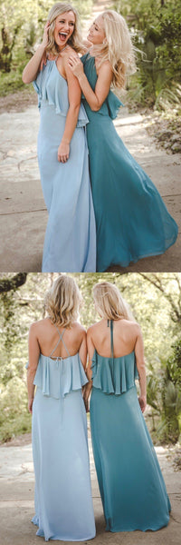 Halt Chiffon  Unique Design Cheap Charming Long Light Blue Elegant Modest Bridesmaid Dresses ,WG355