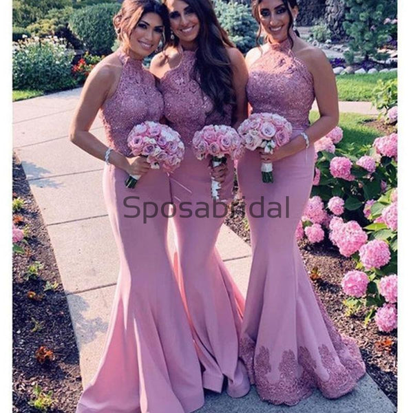 Halter Mermaid Lace Modest Elegant Country Bridesmaid Dresses WG628