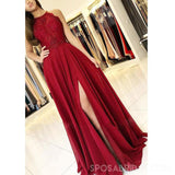 Halter Red Cheap Chiffon Custom Modest  Party Long Lace Prom Dresses with Slit , PD1066