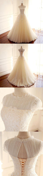 High Neck A-line Lace Appliques Weeding Dresses, Elegant Real Made Ball Gown, WD0274