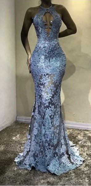 High Neck Unique Deisgn Modest Lace Mermaid Fashion Charming Popular Prom Dresses, PD1304