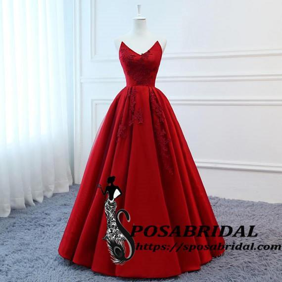 High Quality Satin Modest Long Red Lace Up Back Bridesmaid Dresses, Cheap Party Pom Dresses ,WG324