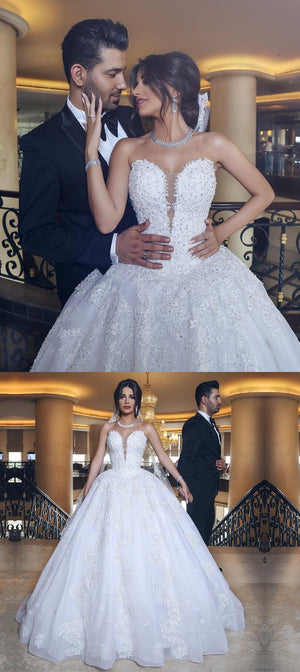 Lace Appliques Sweetheart Tulle Wedding Dresses, Princess Fashion A ...