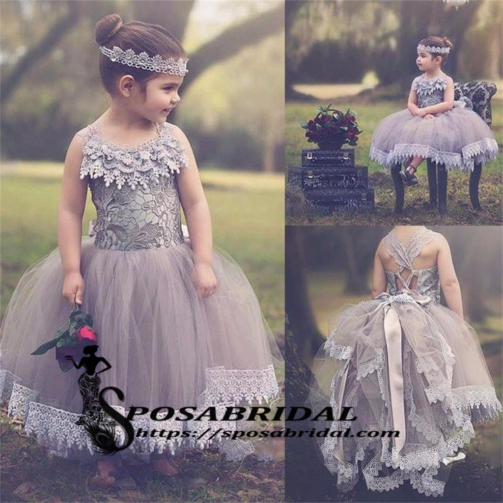 Light Purple Lace Top Lovely Beautiful Best Sale Flower Girl Dresses, Lovely Junior Bridesmaid Gown  , FG120