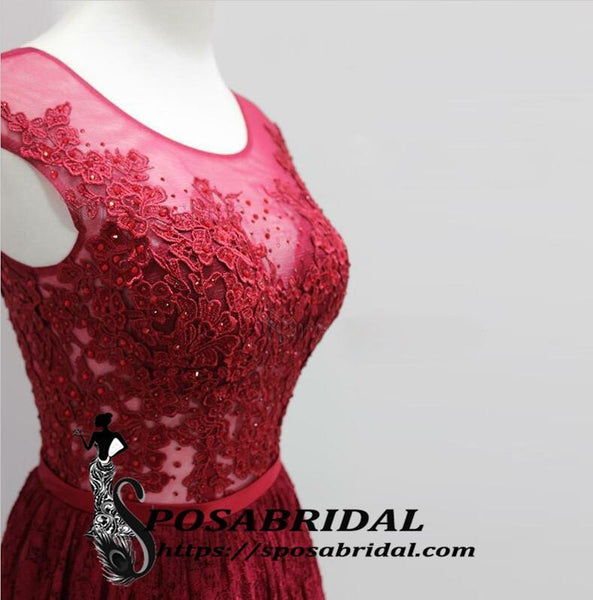 Log Red Lace Scoop Elegant Popular A-Line Floor-Length Bridesmaid Dresses, Prom dresses,WG338