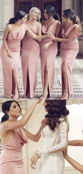 Long Mermaid Split Simple Mermaid Bridesmaid Dresses,WG334