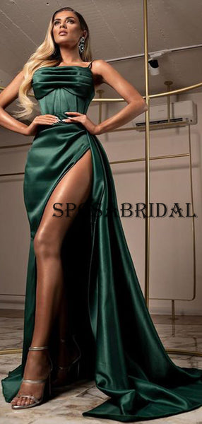 Long Spaghetti Strap Side Slit Green Prom Dresses PD2374