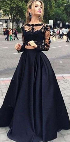 Long Black  Lace Long Sleeve Elegant Custom Party Evening Prom Dresses,PD0045