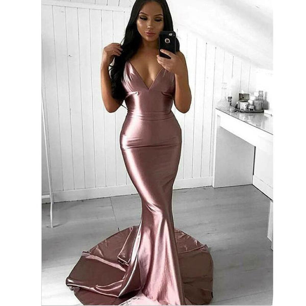 Long Cheap  Fashion Sexy Mermaid V-Neck Sweep Train  Prom  Dresses, Party Dresses, PD1234